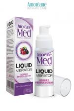 Lubrifiant Liquid Vibrator Baies Rouges 30ml - Amoreane Med - Gel lubrifiant médical à base d'eau avec effet vibrant, parfumé aux baies rouges, par Amoréane Med.