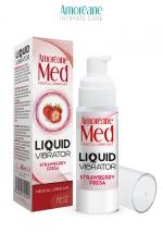 Lubrifiant Liquid Vibrator Fraise 30ml - Amoreane Med - Gel lubrifiant médical à base d'eau avec effet vibrant, parfumé à la fraise, par Amoréane Med.