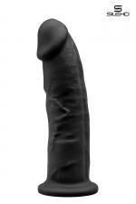 Gode double densité noir 23 cm - Modèle 2 - Gode réaliste noir de 22,5 x 5 cm, à double densité et mémoire de forme, en silexpan pour des sensations plus réelles.