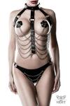Harnais faux cuir et chaines 3 pièces - Grey Velvet - Ensemble harnais SM & chic comprenant un harnais en chaînes métalliques, 1 paire de caches-tétons et un string.