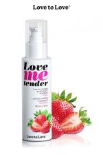 Huile de massage fraise 100ml - Huile de massage comestible goût fraise fabriquée en France par Love to Love.
