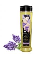 Huile de massage parfum lavande - Shunga - Huile de massage érotique Sensation à la lavande pour éveiller les sens et la réceptivité amoureuse, par Shunga.