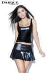 Mini jupe plissée Pleated - Mini jupe plissée taille basse en wetlook brillant avec deux boucles décoratives devant.