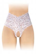 Boxer ouvert Julia - blanc - Boxer coquin blanc, échancré et ouvert entre les cuisses, par Fashion Secret.