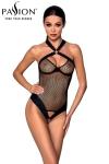 Body sexy Amanda - Passion - Body string noir en résille et faux cuir, par Passion.