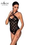 Body sexy Hima - Passion - Body string noir en tulle et faux cuir, par Passion Lingerie.
