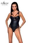 Body faux cuir Loona - Passion - Body sexy noir en faux cuir et dentelle, par Passion Lingerie.