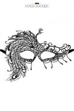 Loup broderie souple crepuscule - Loup noir en dentelle brodée souple avec une forme asymétrique, pour vos soirées déguisées ou coquines, par Maskarade.