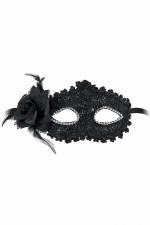 Loup semi-rigide Bella Figura - Loup libertin semi-rigide, noir brillant, avec strass autour des yeux et fleur en tulle sur le côté.
