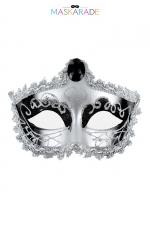 Masque Nozze di Figaro - Maskarade - Loup argenté et brillant, avec bijou sur le front et bordure dentelle, pour se cacher tout en se montrant, par Maskarade.