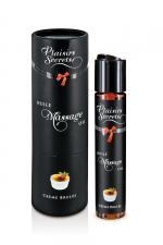 Huile de massage gourmande - Crème Brulée - Huile de massage comestible avec goût creme brulée exquis, par Plaisirs Secrets.