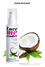 Huile de massage Noix de coco 100ml - Huile de massage comestible goût noix de coco fabriquée en France par Love to Love.