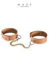 Menottes pour chevilles marron - Maze - Paire de bracelets / menottes pour chevilles ultra tendance (couleur marron), 100% Vegan, pour vos jeux de soumission et de domination  Soft.