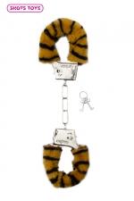 Menottes fourrure Shots - tigre - Paire de menottes fantaisie qui ferment comme des vraies pour jouer à s'attacher. En métal et fausse fourrure imprimée tigre.