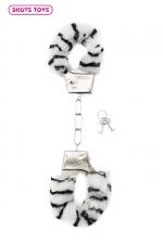 Menottes fourrure Shots - zèbre - Paire de menottes fantaisie qui ferment comme des vraies pour jouer à s'attacher. En métal et fausse fourrure imprimée zèbre.