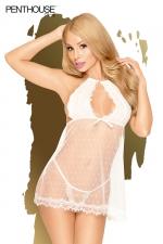 Nuisette Libido Boost blanche - Penthouse - Babydoll sexy  en point d'esprit et en dentelle transparente blanche accompagnée de son  son string assorti.