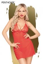 Nuisette Bedtime Story rouge - Penthouse - Nuisette sexy rouge et string assorti, par penthouse Lingerie.