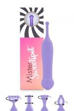 Stimulateur clitoridien Mister Sweetspot violet - Feelztoys - Petit vibro violet en silicone, offrant une stimulation puissante et ciblée pour les zones érogènes et le clitoris.