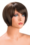 Perruque Mia châtain - Perruque châtain aux cheveux courts en carré avec mèche ayant un aspect actuel.