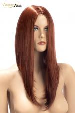 Perruque Nina auburn - World Wigs - Perruque auburn qualité Premium, avec cheveux longs en carré plongeant auburn pour un look à la fois retro et sexy.