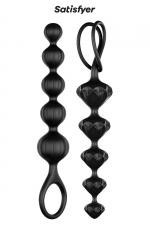 Love beads noires - satisfyer - Coffret contenant 2 chaines anales de formes différentes en silicone, idéales pour débuter ou s'entrainer au sexe anal. Coloris noir.