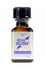 Poppers real rush platinum 24 ml - Arôme real rush platinum, l'original, au nitrite de pentyle, en flacon de 24 ml.