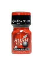 Poppers Rush Zero Red Distilled 10 ml - Poppers petit format, hybride et ultra puissant avec effet immédiat, à base d'Amyle et Propyle, flacon Méga Pellet et bouchon sécurisé.