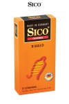 12 préservatifs Sico RIBBED - 12 préservatifs haute qualité avec de fines rainures pour accroitre la stimulation sexuelle de votre partenaire.
