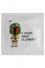Préservatif humour - I Don't Want Clones - Préservatif I Don't Want Clones, un préservatif personnalisé humoristique de qualité, fabriqué en France, marque Callvin.
