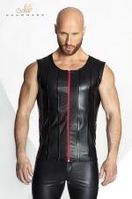 Veste STRONGER Red Line - Veste sans manches en wetlook mat, d�cor�e de bandes verticales de vinyle brillant et d'un zip rouge vif.