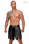 Jupe gladiateur faux cuir H053 - Jupe gladiateur faux cuir, décoré devant d'une bande vinyle plissée retenue par quatre pressions.