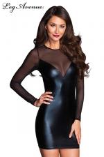 Robe Jacky - Petite robe simple moulante noire, manches et dos en voile transparent.
