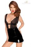 Mini robe vinyle F194 - Adorable mini robe en vinyle brillant et bustier de tulle transparent. Un must.