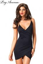 Robe Maria  - Petite robe noire dos nu à fines bretelles, croisée devant.
