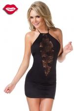 Robe Diamond Lace - Petite robe noire moulante et dos nu, offrant une fenêtre de dentelle profondément ouverte sur votre décolleté.