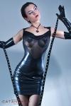 Robe Safia - Robe wetlook laqu� dos nu et d�collet� de r�sille, r�v�lez la pin-up qui sommeille en vous.