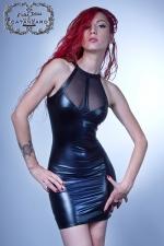Robe Maitika - Robe fourreau ultra moulante et sexy, la féminité incarnée en wetlook laqué et résille.