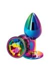 Plug anal aluminium multicolore S - Rear Assets - Plug anal Small en aluminium léger, dimensions 6,9 x 3,2 cm, corps et bijou multicolore, marque NS Novelties.