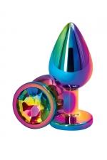 Plug anal aluminium mulitcolore M - Rear Assets - Plug anal Medium en aluminium léger, dimensions 8 x 3,4 cm, corps et bijou multicolores, marque NS Novelties.