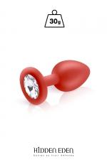 Plug bijou silicone rouge S - Hidden Eden - Plug anal en silicone rouge d'une longueur de 7,2 cm et d'un diamètre moyen de 2,7 cm. Décoré d'un strass rond transparent.