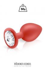 Plug bijou silicone rouge M - Hidden Eden - Plug anal en silicone rouge d'une longueur de 8 cm et d'un diamètre moyen de 3,5 cm. Décoré d'un strass rond transparent.
