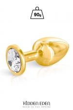 Plug bijou aluminium gold M - Hidden Eden - Plug anal en aluminium doré d'une longueur de 8,3 cm et d'un diamètre moyen de 3,4 cm. Décoré d'un strass rond transparent.
