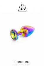 Plug bijou aluminium Rainbow XS - Hidden Eden - Plug anal en aluminium arc-en-ciel d'une longueur de 6,1 cm et d'un diamètre moyen de 2,5 cm. Décoré d'un strass rond multicolore.