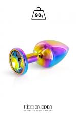 Plug bijou aluminium Rainbow M - Hidden Eden - Plug anal en aluminium effet arc-en-ciel d'une longueur de 8,1 cm et d'un diamètre moyen de 3,2 cm. Décoré d'un strass rond multicolore.