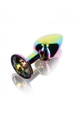 Plug anal Twilight Booty Jewel - Small - Petit plug anal en aluminium et verre acrylique, dimensions 7,2 x 2,7 cm, corps et bijou arc en ciel, by ToyJoy.