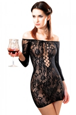 Robe Fetish Dinner résille Noir - Robe en résille extensible dentelle florale, sexy et provocante.