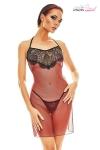 Robe lingerie rouge et noire Fantasme - Anaïs - Robe transparente dos nu au corps de tulle rouge sombre rehaussé de dentelle, et son string assorti.