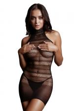 Mini robe résille col dentelle - Le Désir - Mini robe dos nu en résille sexy à rayures géométriques et col haut en dentelle. Inspirons Le Désir.