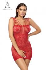 Robe Rubi rouge - Angels nevers Sin - Robe sexy en résille extensible décorée de motifs.