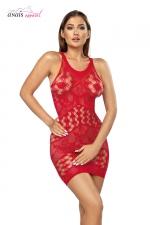 Robe résille Freya Rouge - Anaïs - Robe en résille fantaisie structurée en chevrons de motifs coeur et de dentelle.